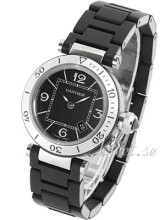 Cartier Pasha Seatimer Lady Black Dial Steel/Rubber Bracelet