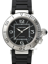 Cartier Pasha Black Dial Rubber