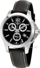 Longines Conquest Black Dial Leather Strap Black