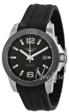 Longines Conquest Ceramic Bezel Black Dial Rubber Strap