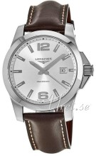 Longines Conquest Silver Dial Leather Strap Brown