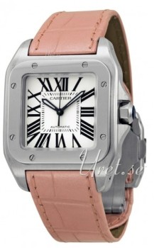 Cartier Santos 100 Silver Dial Pink Leather