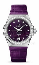 Omega Constellation 35 mm Purple Dial Leather Strap