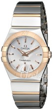 Omega Constellation Polished 27 mm Rose Gold Steel Silver Dial