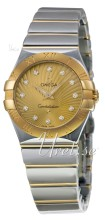 Omega Constellation Polished 27 mm Yellow Gold Steel Champagne D