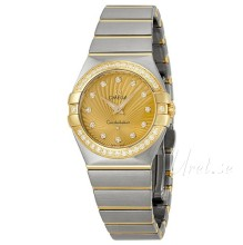 Omega Constellation Brushed 27 mm Yellow Gold Steel Champagne Di