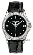 Patek Philippe Calatrava Black Dial White Gold