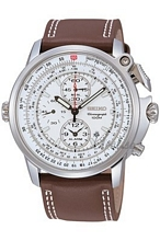 Seiko Chronograph White Dial Brown Leather