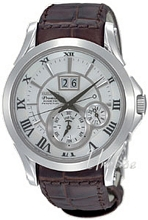 Seiko Premier Silver Dial Leather Strap Power Reserv